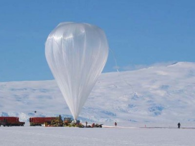 A NASA balloon, identical to the one that will fly the PoSSUM suite of instruments, launches from Antarctica.