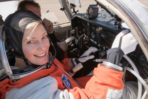 Dr Sarah Jane Pell prepares to test functionality of the Final Frontier IVA spacesuit in a Mooney research aircraft, an analog operational environment to a spacecraft.