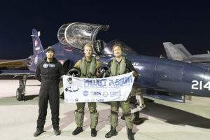 PoSSUM members Capt. Theon 'TK' Te Koeti (pilot) and Dr. Jason Reimuller (mission specialist) prepare for a noctilucent cloud reserach sortie from Edmonton, AB in a Royal Canadian Air Force CT-155 'Hawk' aircraft.