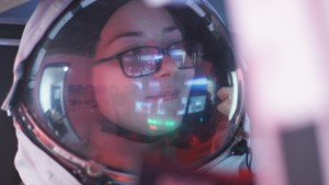 PoSSUM Academy Student  Brooke Kubby prepares to penetrate noctilucent cloud layers in simulated spaceflight (credit: Cinemaraven)
