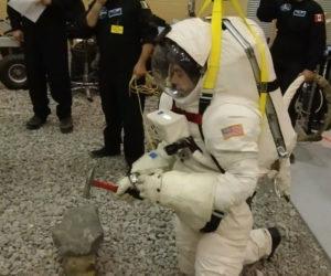 Lunar EVA hammer test