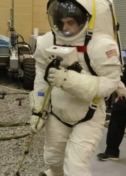 Lunar gravity soil scoop test